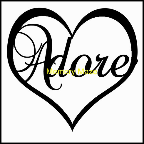 Adore in heart  75 x 75  in circle  bulk pack of 5 Memory Maze